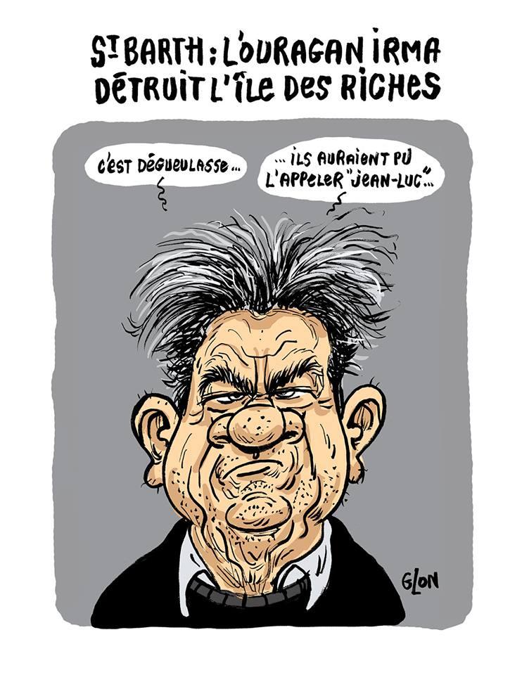 dessin humoristique de Jean-Luc Mélenchon parlant de l'ouragan Irma