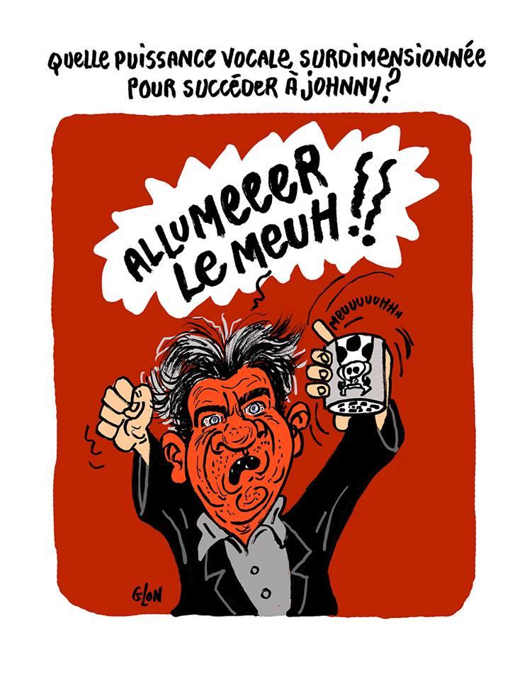 dessin humoristique de Jean-Luc Mélenchon avec une boîte à meuh