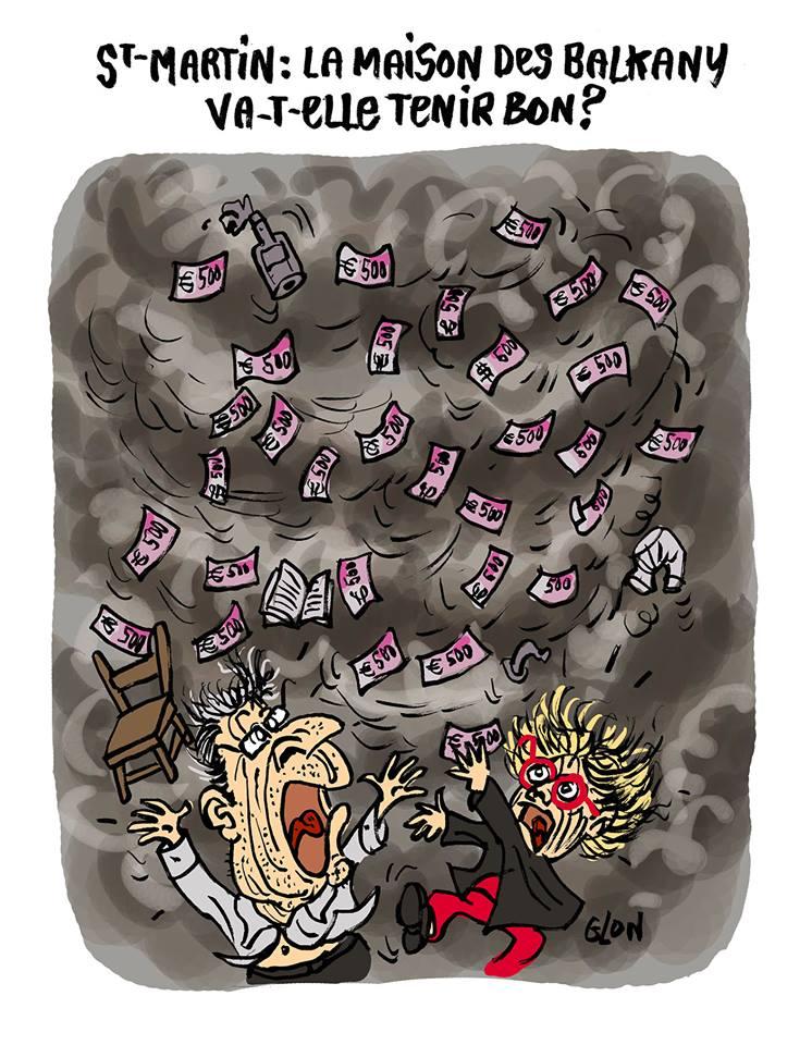 dessin humoristique de Patruck et Isabelle Balkany en pleine tempête à Saint-Martin