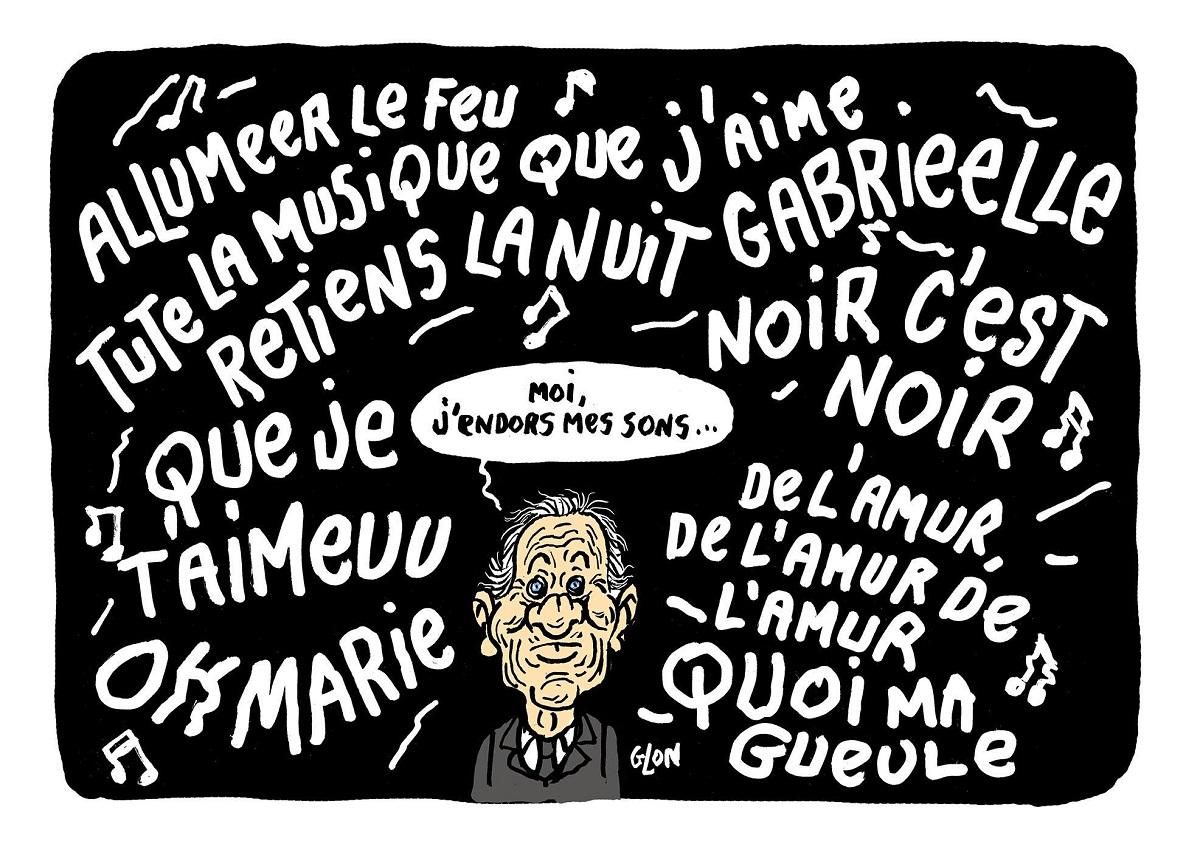 dessin humoristique de Jean d'Ormesson entouré des chansons de Johnny Hallyday