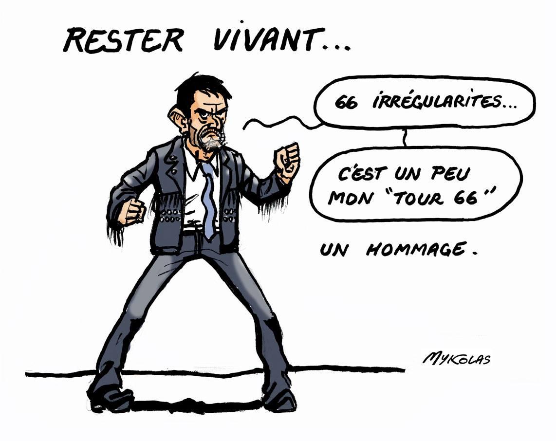 dessin humotistique de Manuel Valls rendant hommage à Johnny Hallyday