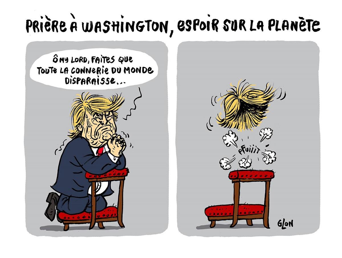 dessin humoristique de Donald Trump qui prie pour la planète