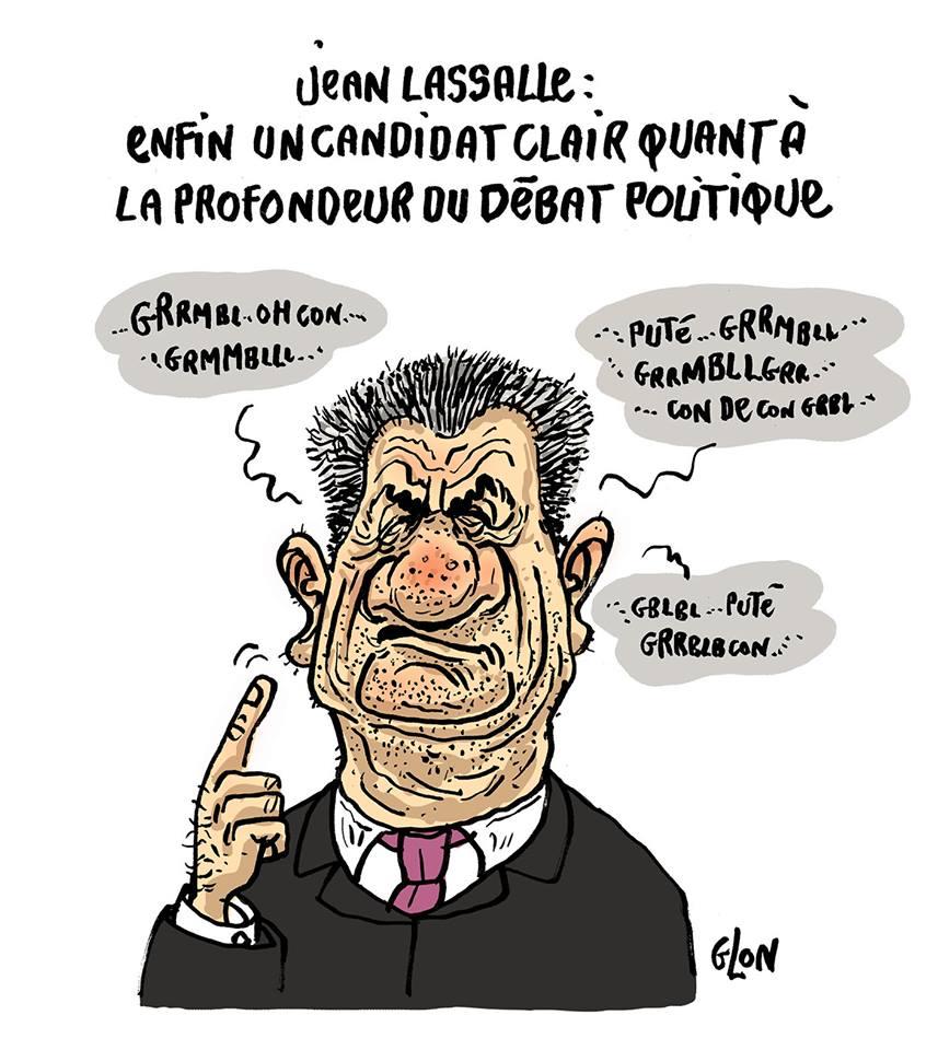 dessin drôle de Jean Lassalle parlant de son projet politique