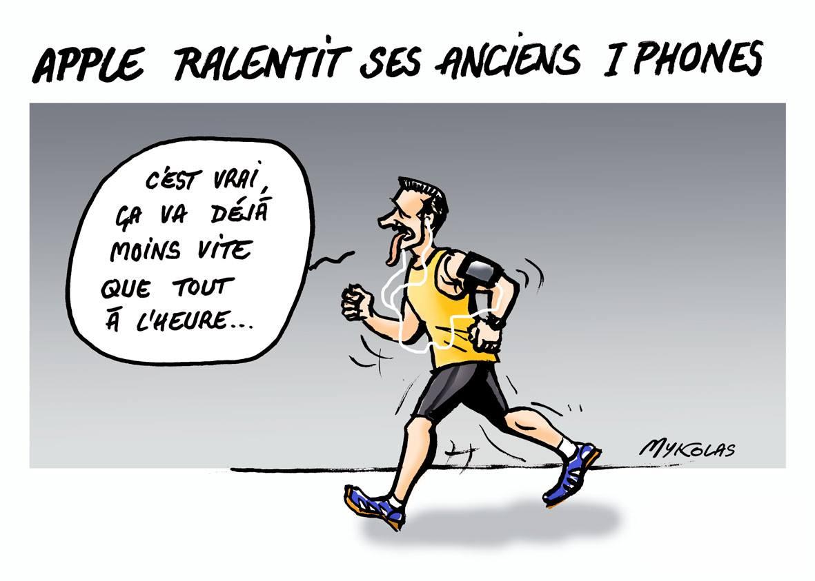 dessin humoristique d'un utilisateur d'Apple qui court au ralenti avec un iPhone