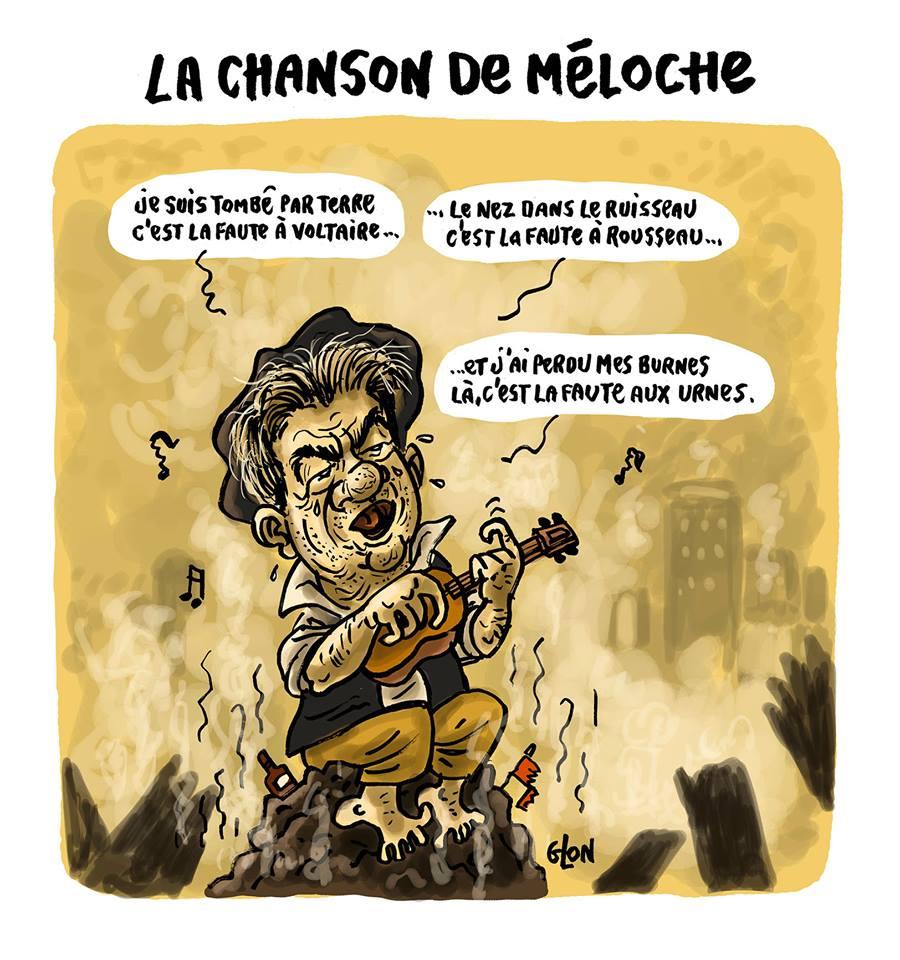 Dessin humoristique de Jean-Luc Mélenchon en train de chanter la chanson de Méloche