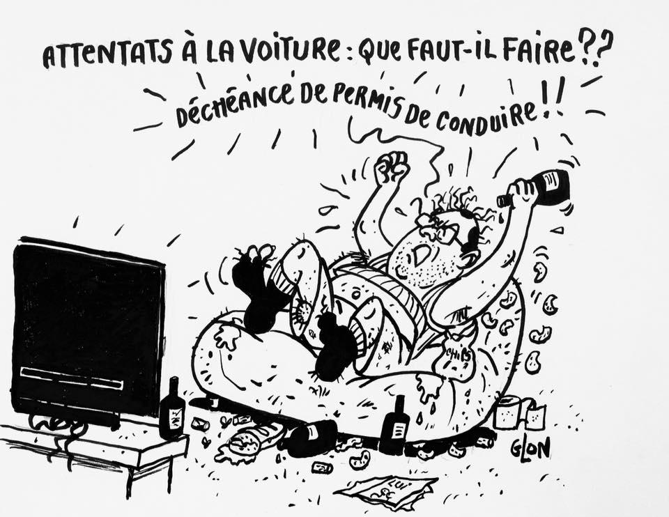 dessin drôle de François Hollande excité devant sa télévision