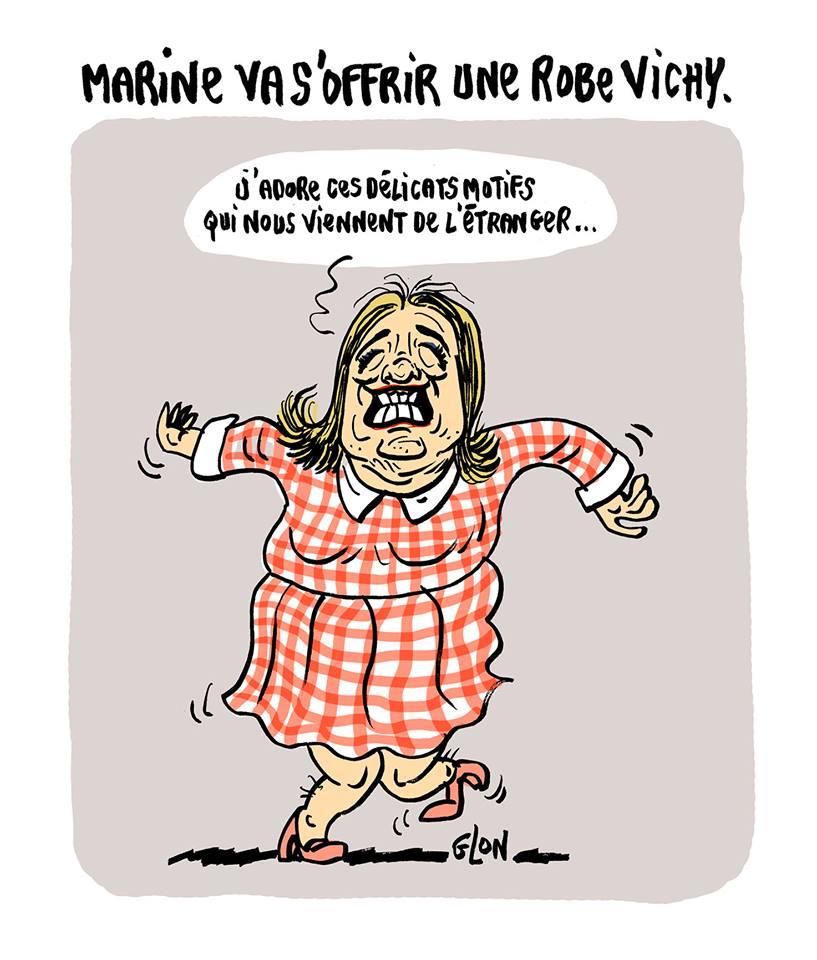 dessin humoristique de Marine Le Pen en petite robe vichy