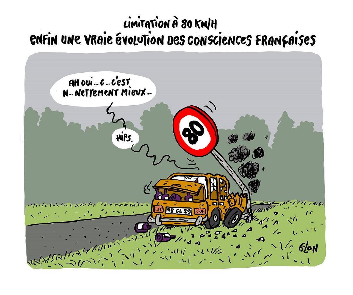 dessin humoristique d'un homme ivre au volant venant d'avoir un accident de la route contre un panneau de limitation de vitesse à 80