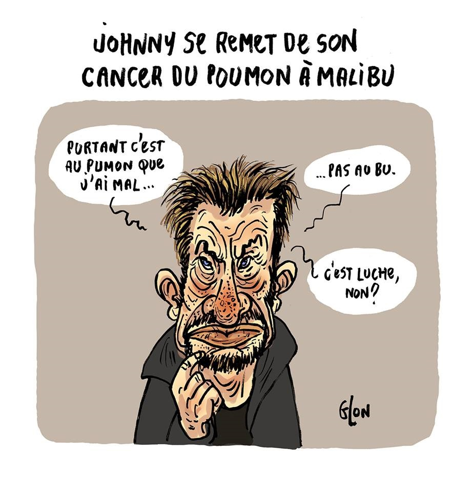 dessin humoristique de Johnny Hallyday qui parle de son cancer du poumon