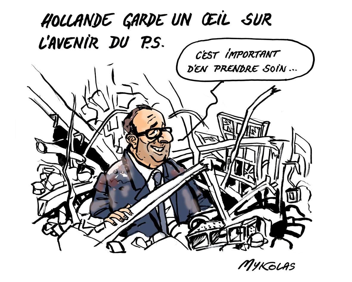 dessin humoristique de François Hollande au milieu des ruines du Parti Socialiste