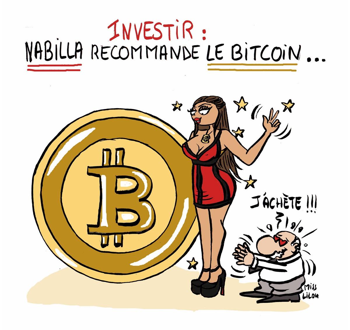 dessin humoristique de Nabilla en train de recommander d'investir dans le bitcoin