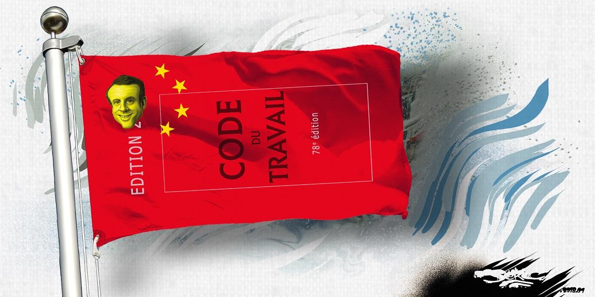 dessin humoristique du drapeau chinois à l'effigie d'Emmanuel Macron et du Code du Travail