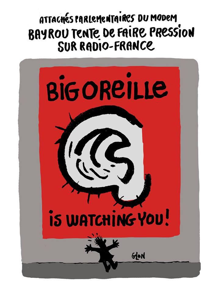 dessin humoristique d'une affiche montrant l'oreille de François Bayrou