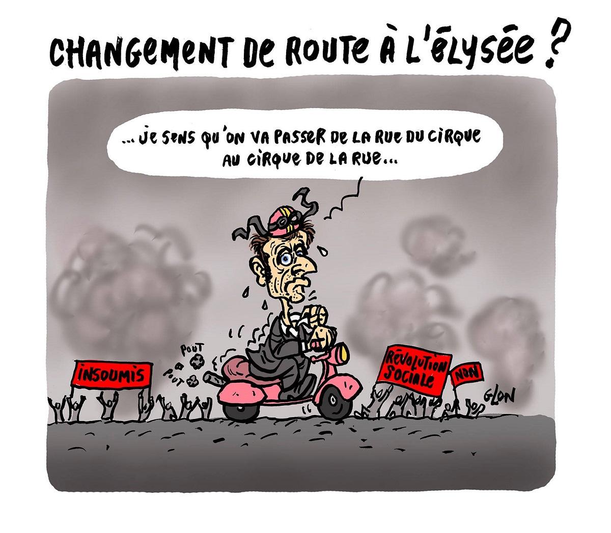 dessin drôle d'Emmanuel Macron en route vers l'Elysée sur un scooter rose