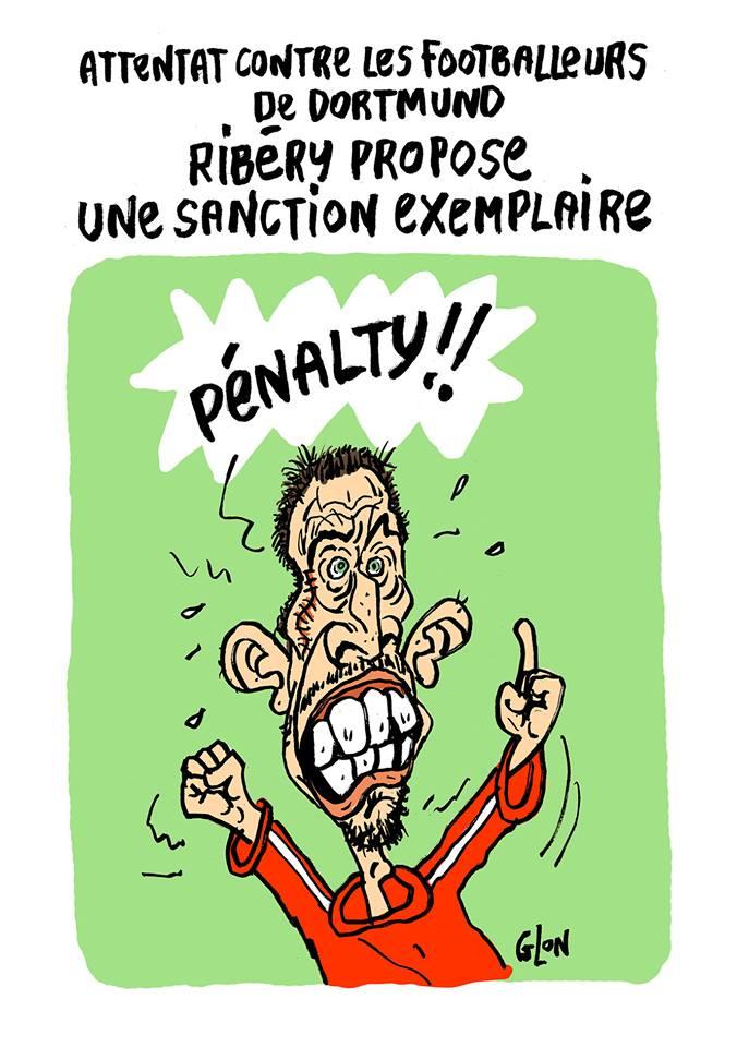 dessin humoristique de Franck Ribéry proposant une sanction pour l'attentat de Dortmund