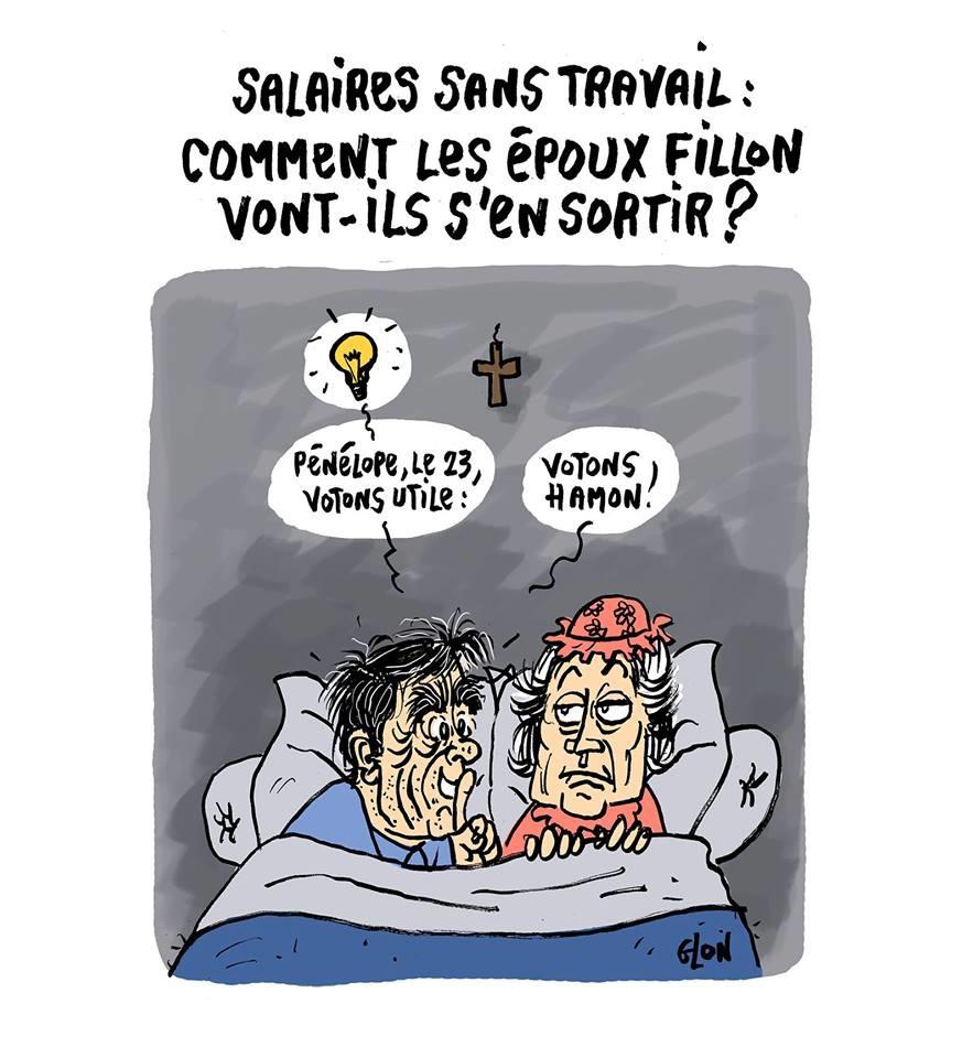 dessin humoristique de François et pénélope Fillon au lit