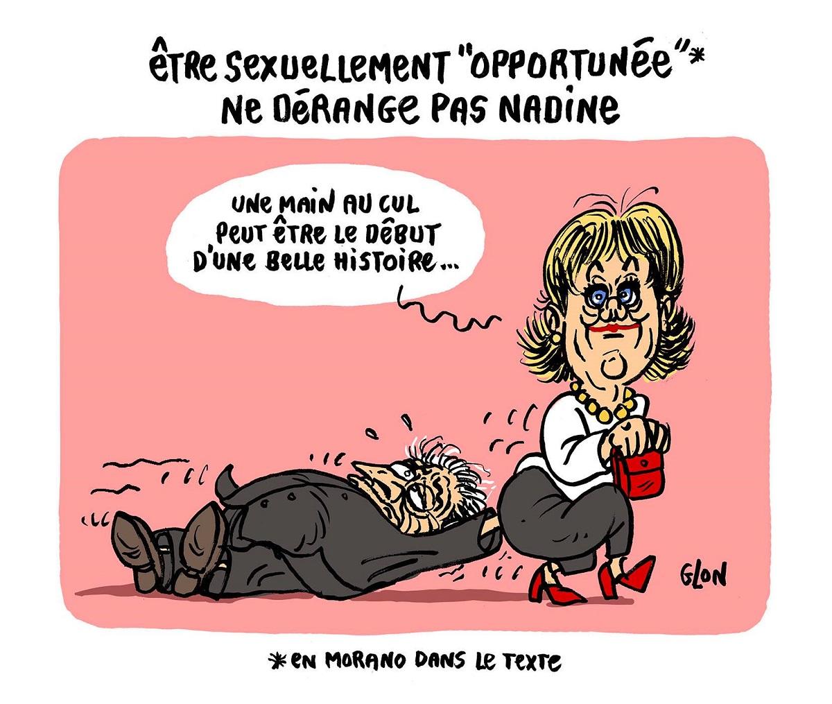 dessin humoristique de Nadine Morano avec une main au cul