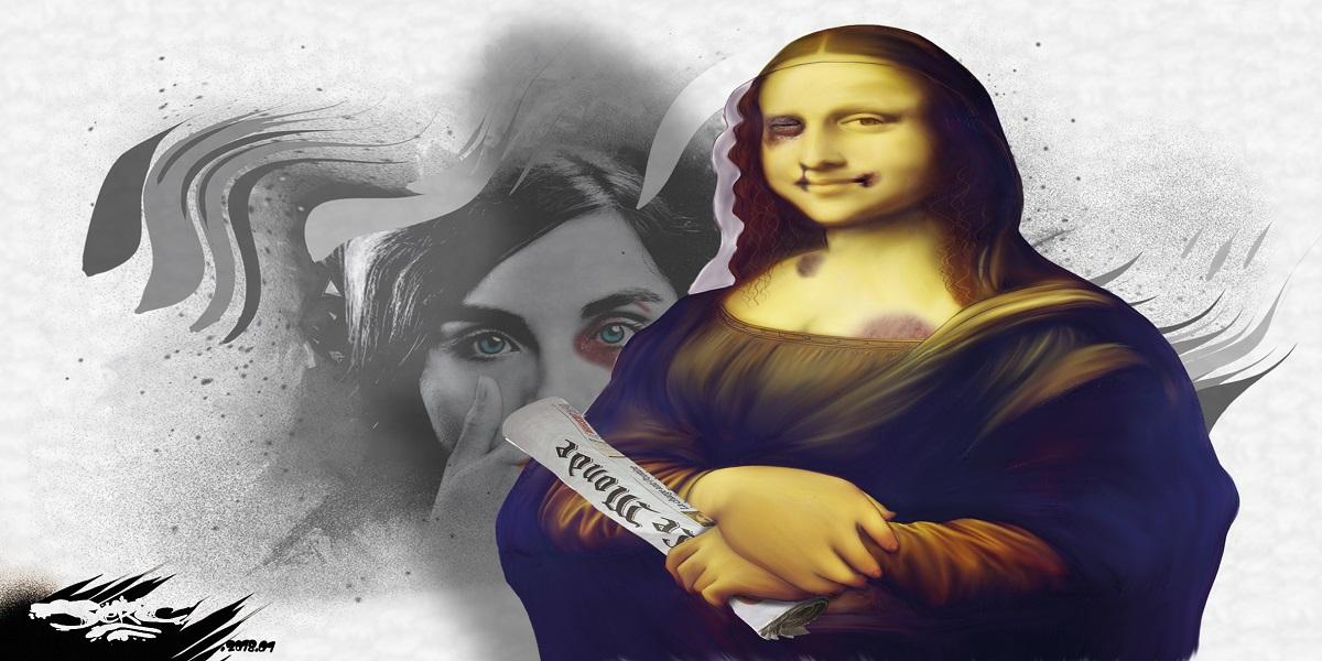 dessin humoristique de Mona Lisa en femme battue