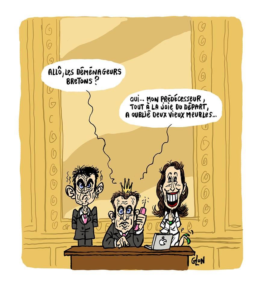 dessin drôle d'Emmanuel Macron à l'Elysée entouré de Ségolène Royal et de Manuel Valls