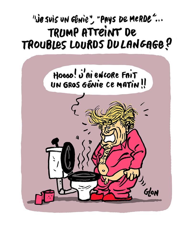 dessin humoristique de Donald Trump qui vient de faire caca aux toilettes