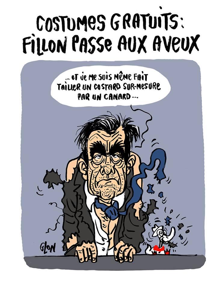 dessin drôle de François Fillon en train de se faire tailler une veste par le canard enchaîné