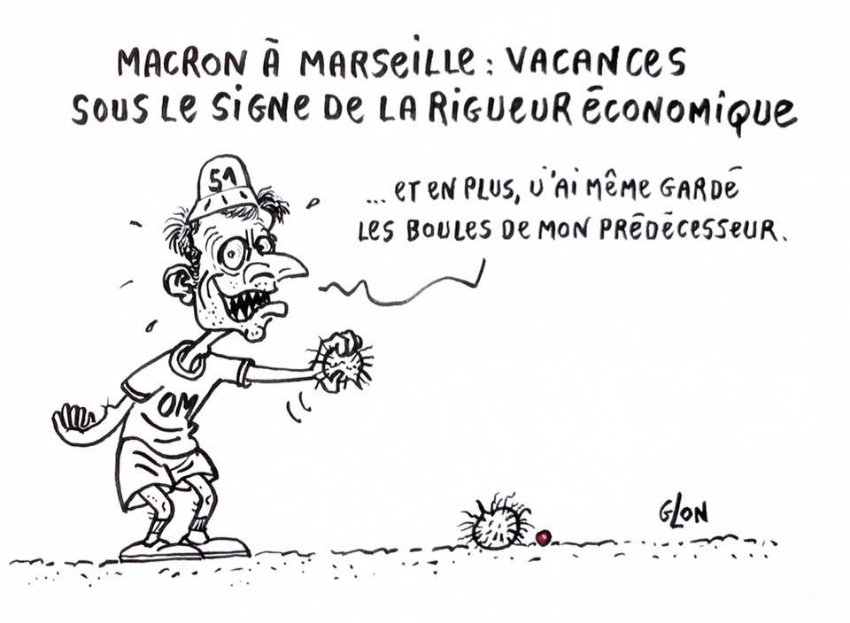dessin drôle d'Emmanuel Macron en train de jouer à la pétanque avec les couilles de François Hollande