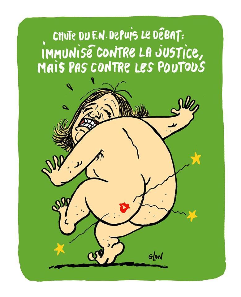 dessin drôle de Marine Le Pen nue avec une trace de bisou sur la fesse