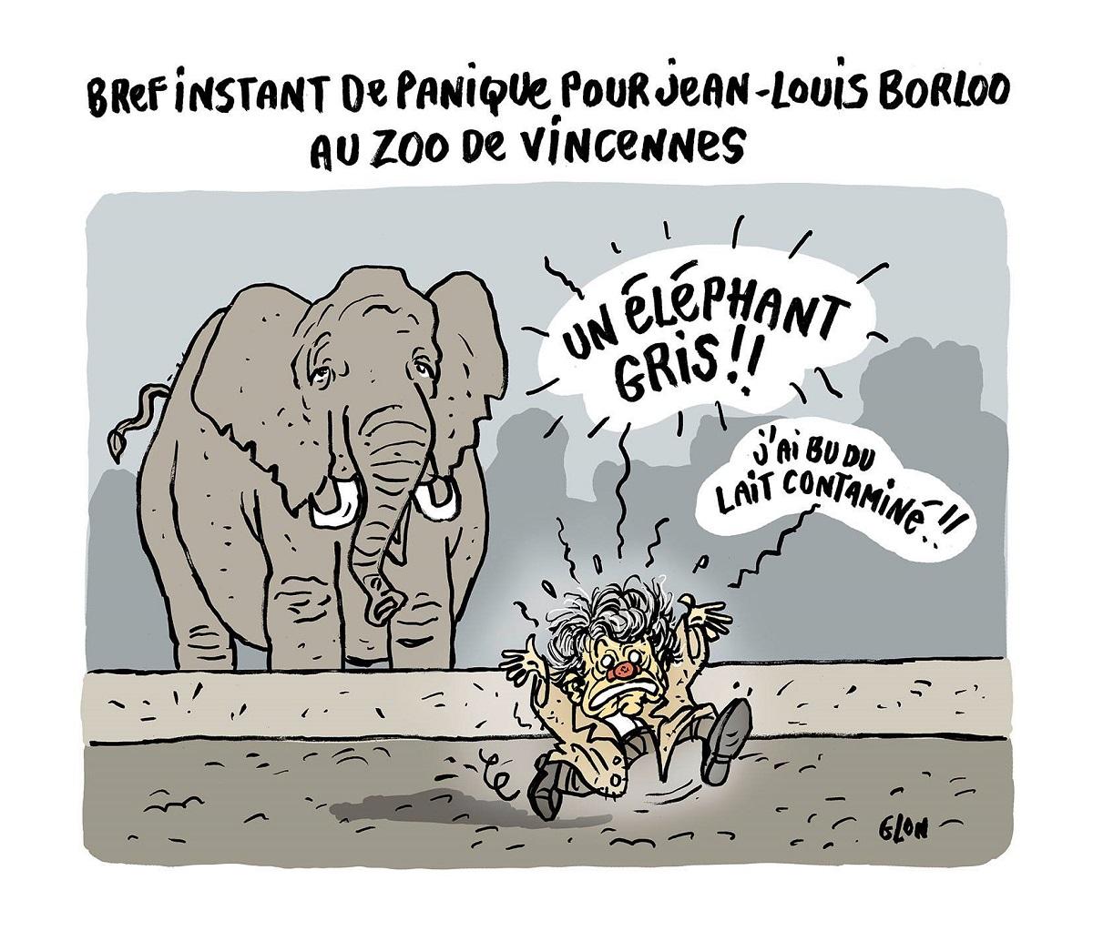 dessin humoristique de Jean-Louis Borloo au zoo de Vincennes fuyant devant un éléphant gris