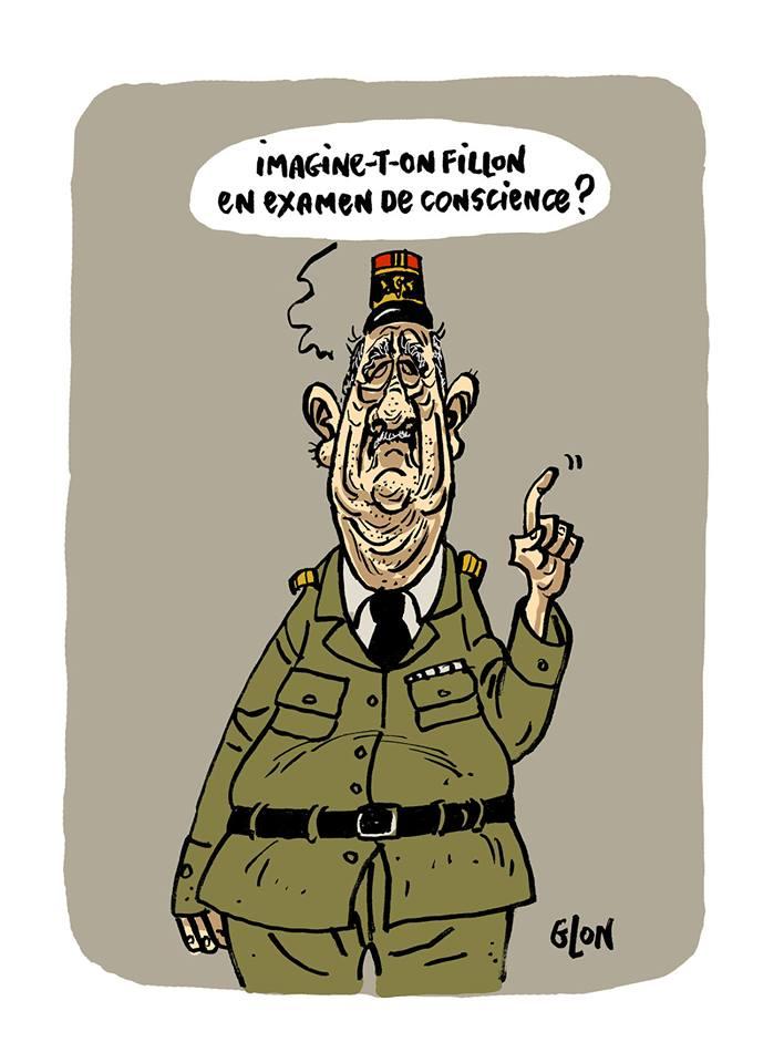 dessin humoristique de Charles De Gaulle parlant de François Fillon
