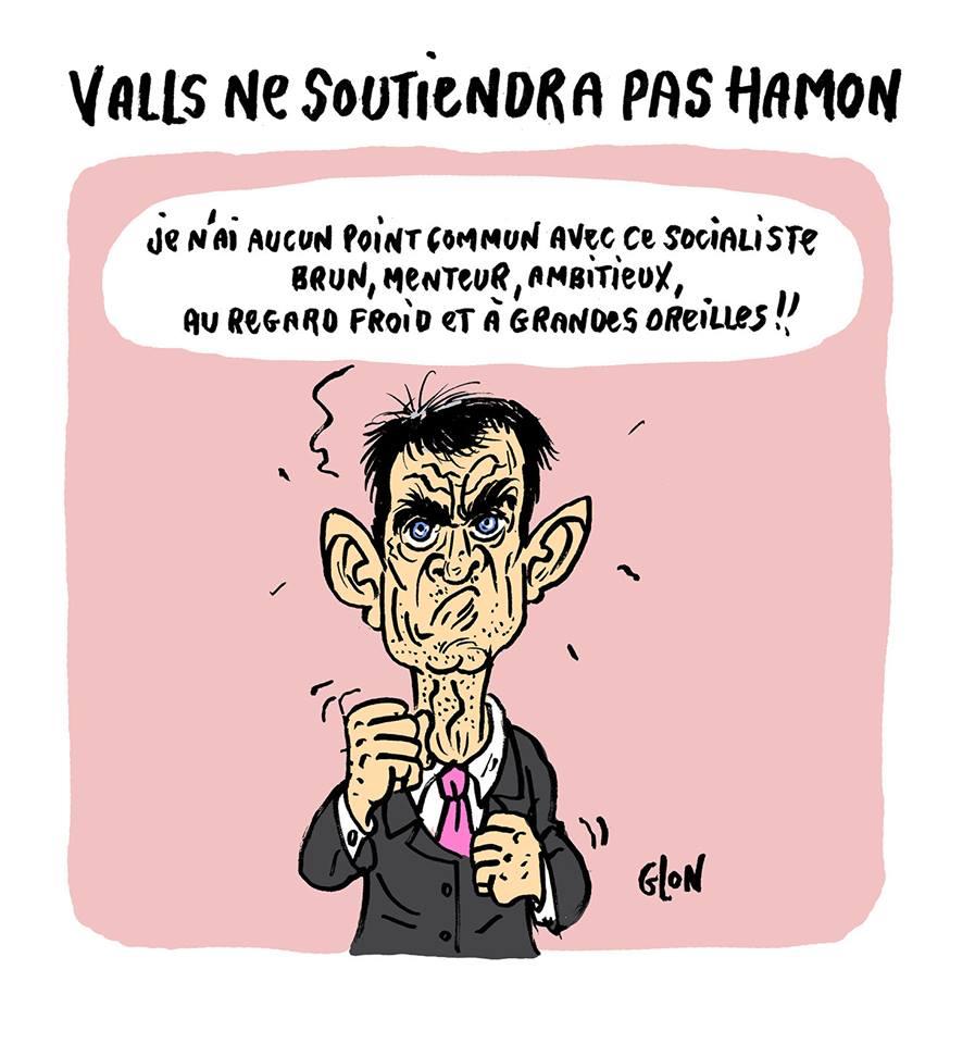 dessin humoristique de Manuel Valls qui parle de Benoît Hamon