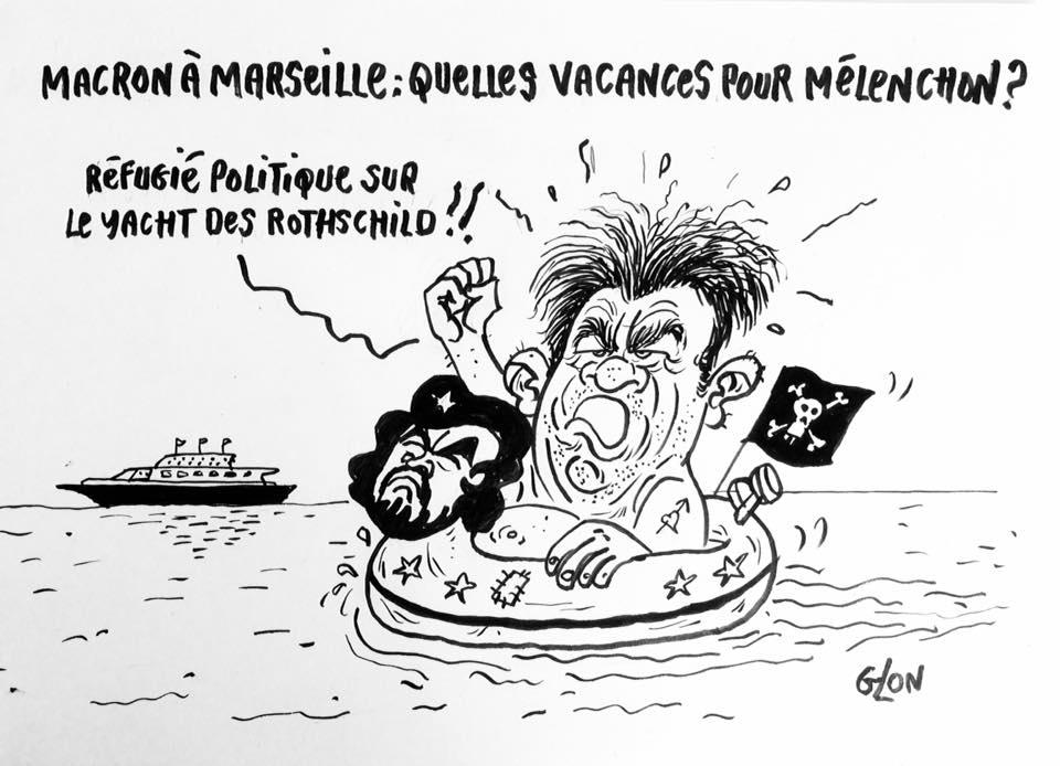 dessin drôle de Jean-Luc Mélenchon dans l'eau à Marseille avec une bouée Che Guevara