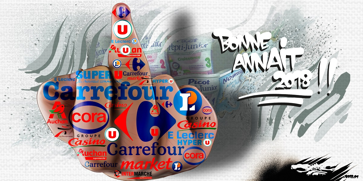 dessin humoristique du doigt d'honneur des supermarchés à la santé des Français
