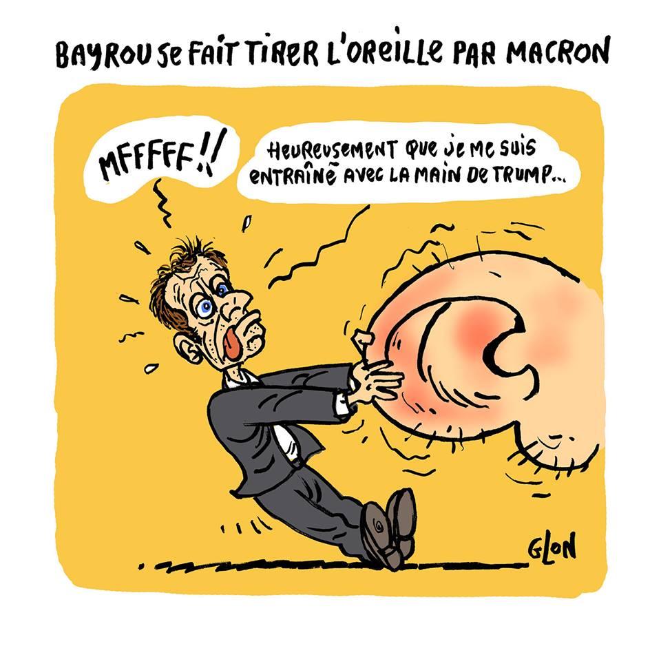 dessin humoristique d'Emmanuel Macron qui tire l'oreille de François Bayrou