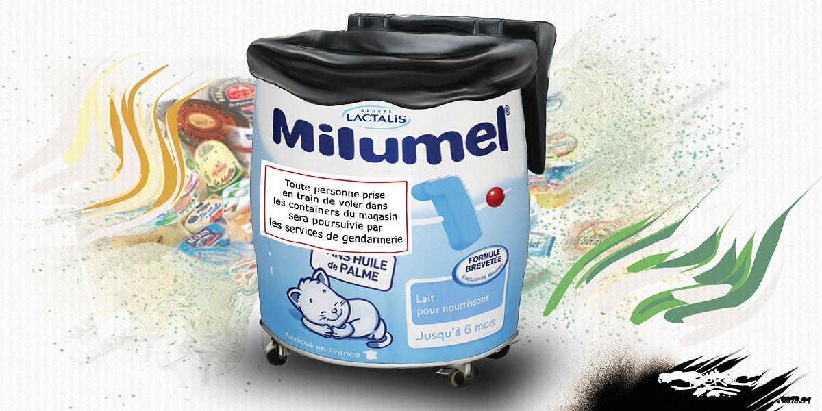 dessin humoristique d'une boîte de lait Milumel de Lactalis - container poubelle