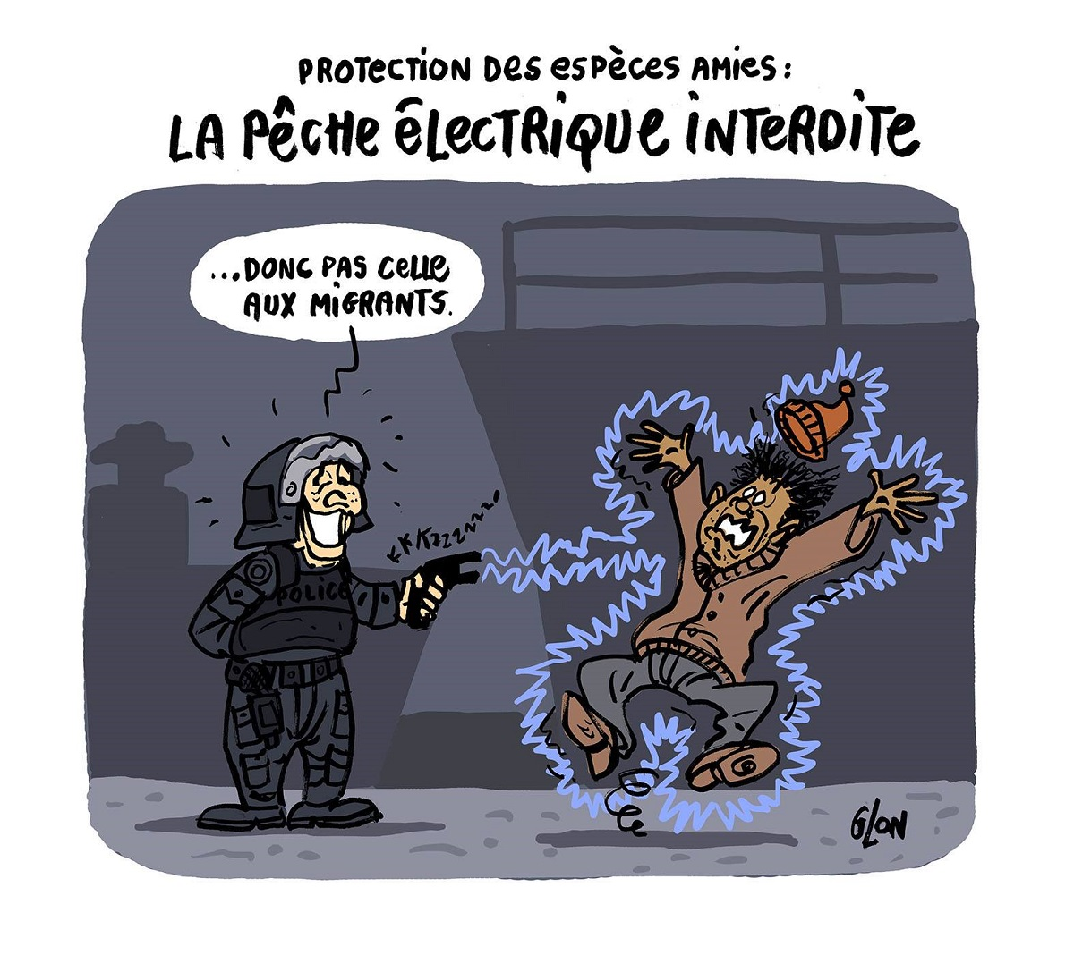 dessin humoristique d'un policier en train de taser un migrant