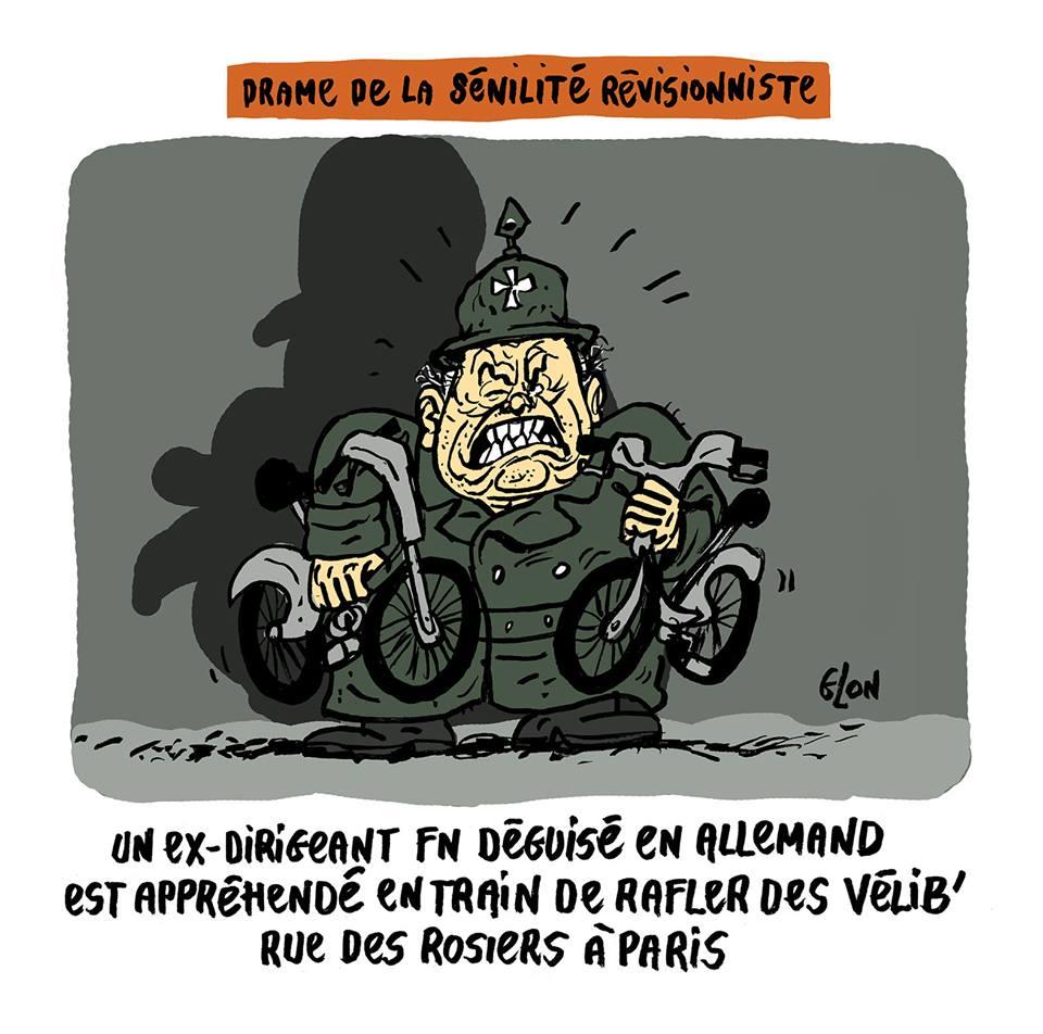 dessin humoristique de Jean-Marie Le Pen déguisé en allemand avec des Vélib' sous les bras