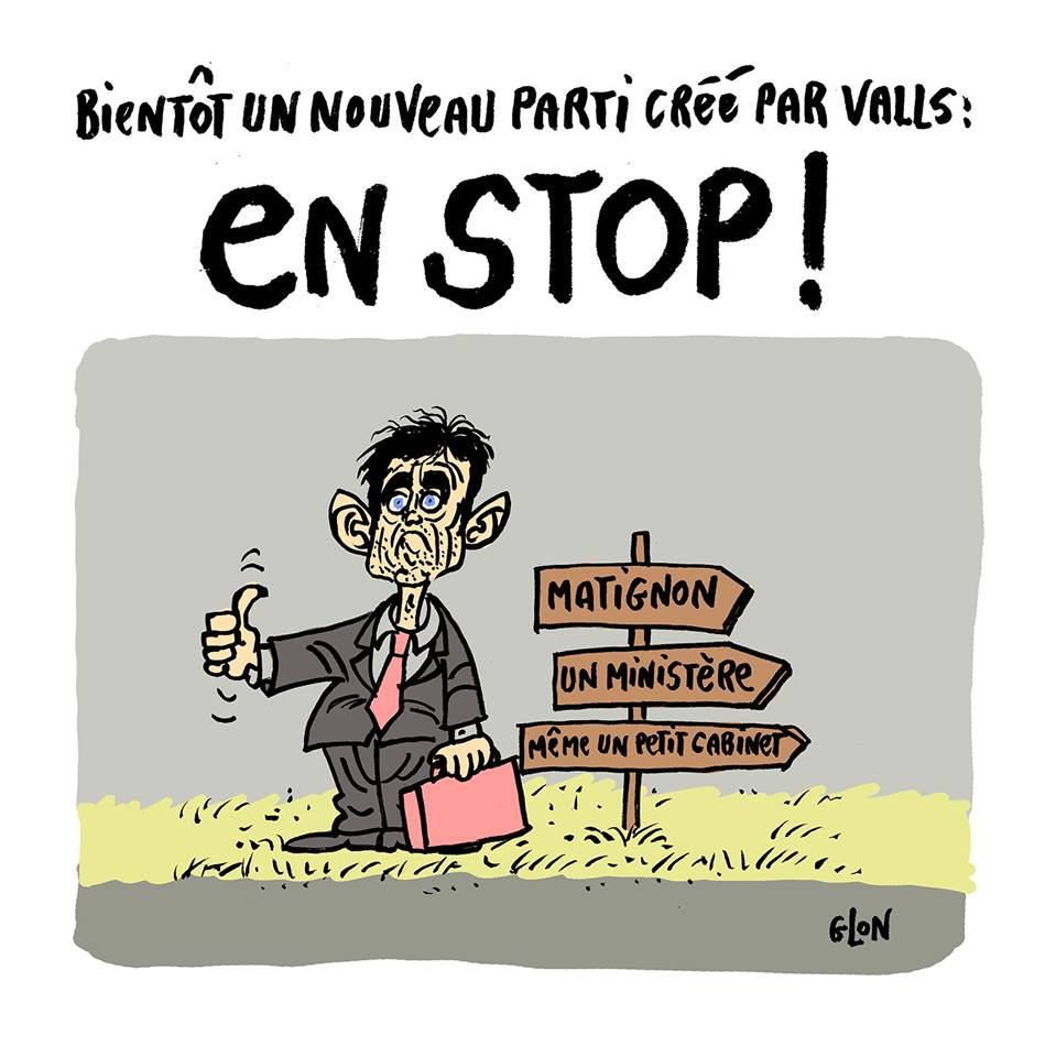 dessin humoristique de Manuel Valls qui fait du politico-stop