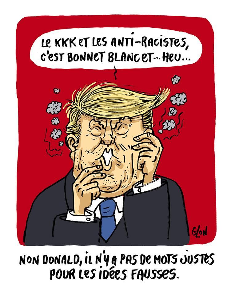 dessin humoristique de Donald Trump qui parle du Ku Klux Klan et des anti-racistes