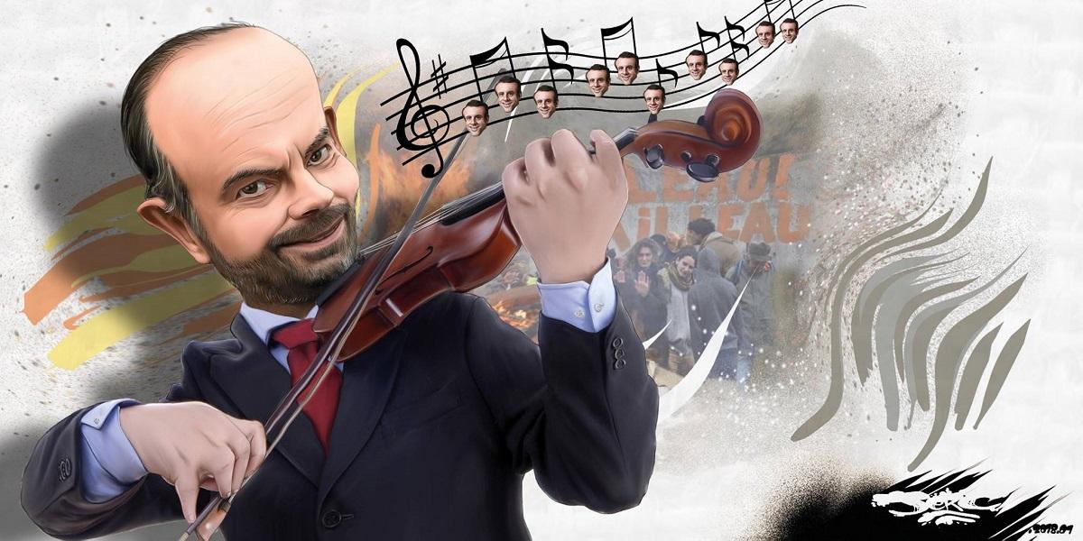 dessin drôle d'Edouard Philippe en train de jouer du violon