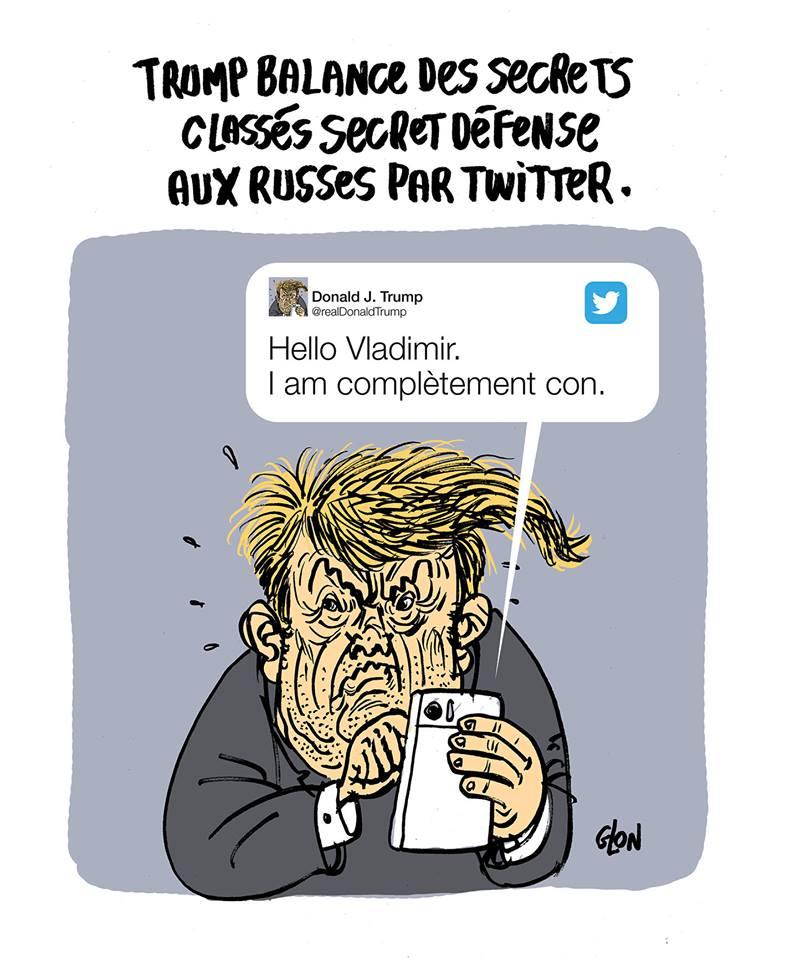 dessin drôle de Donald Trump en train de divulguer sa connerie à Vladimir Poutine