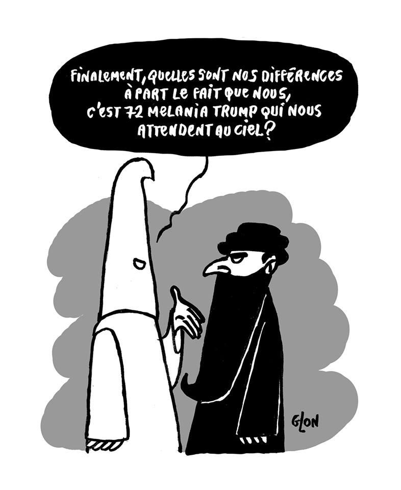 dessin humoristique d'un membre du Ku Klux Klan parlant à un islamiste intégriste
