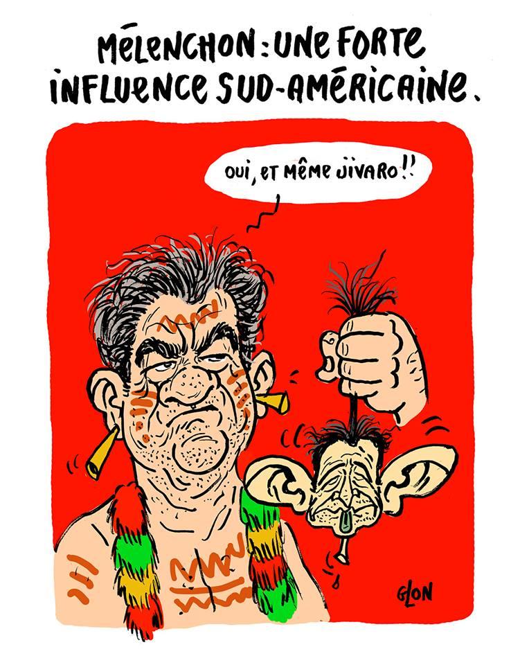 dessin drôle de Jean-Luc Mélenchon influencé par les Jivaros une tête réduite à la main