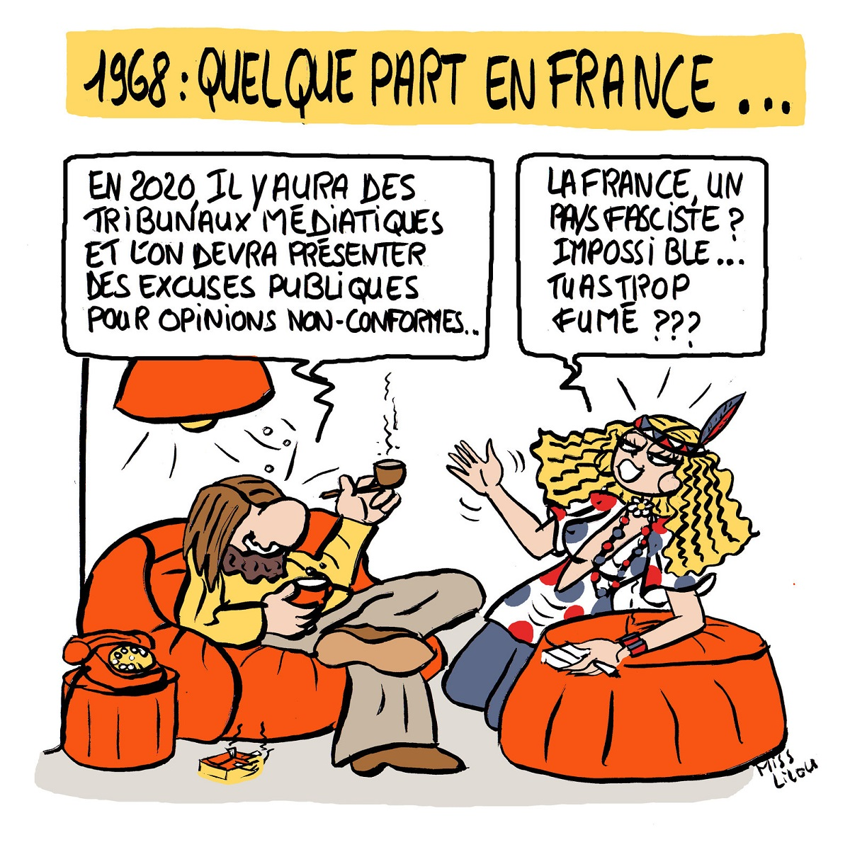 dessin humoristique de Français en 1968 essayant d'imaginer ce que sera la France en 2020