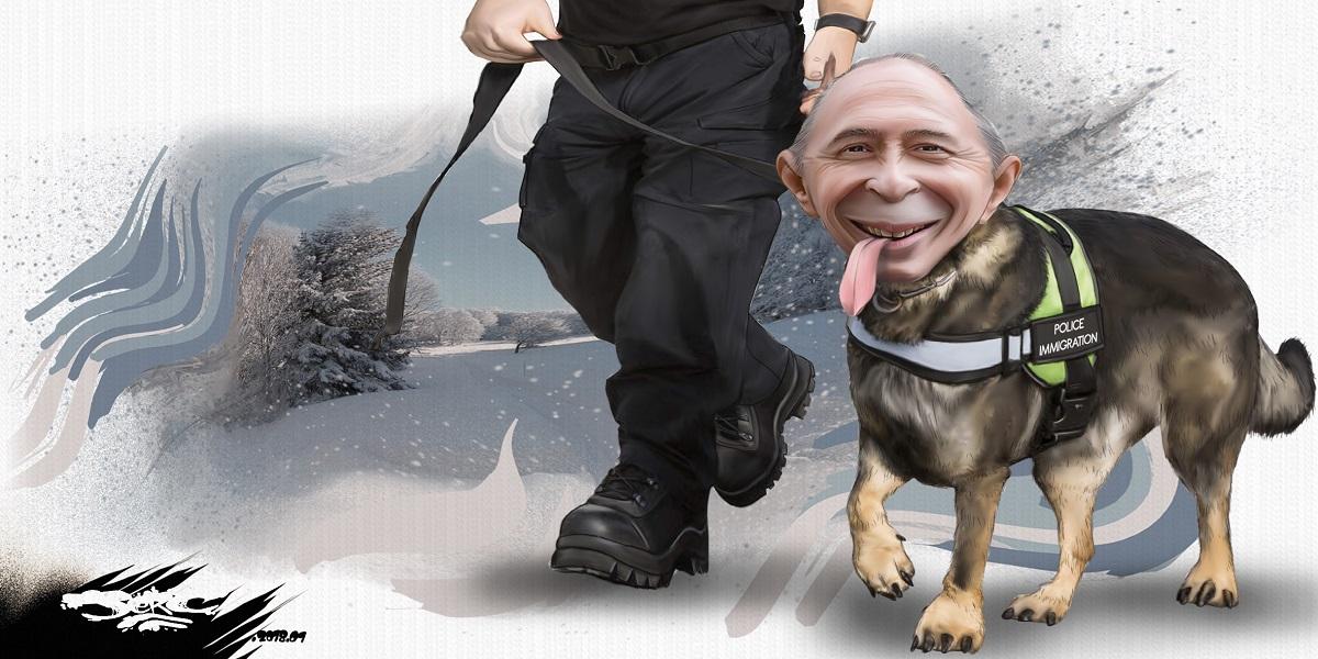 dessin humoristique de Gérard Collomb en chien de la police de l'immigration