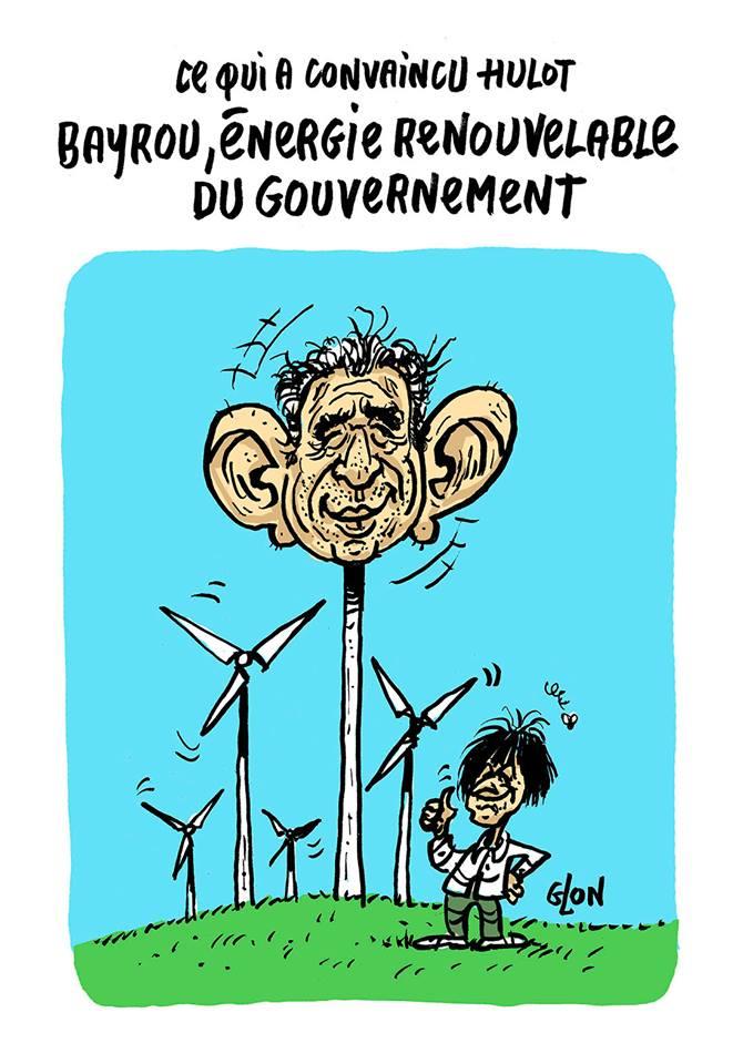 dessin humoristique de François Bayrou en éolienne
