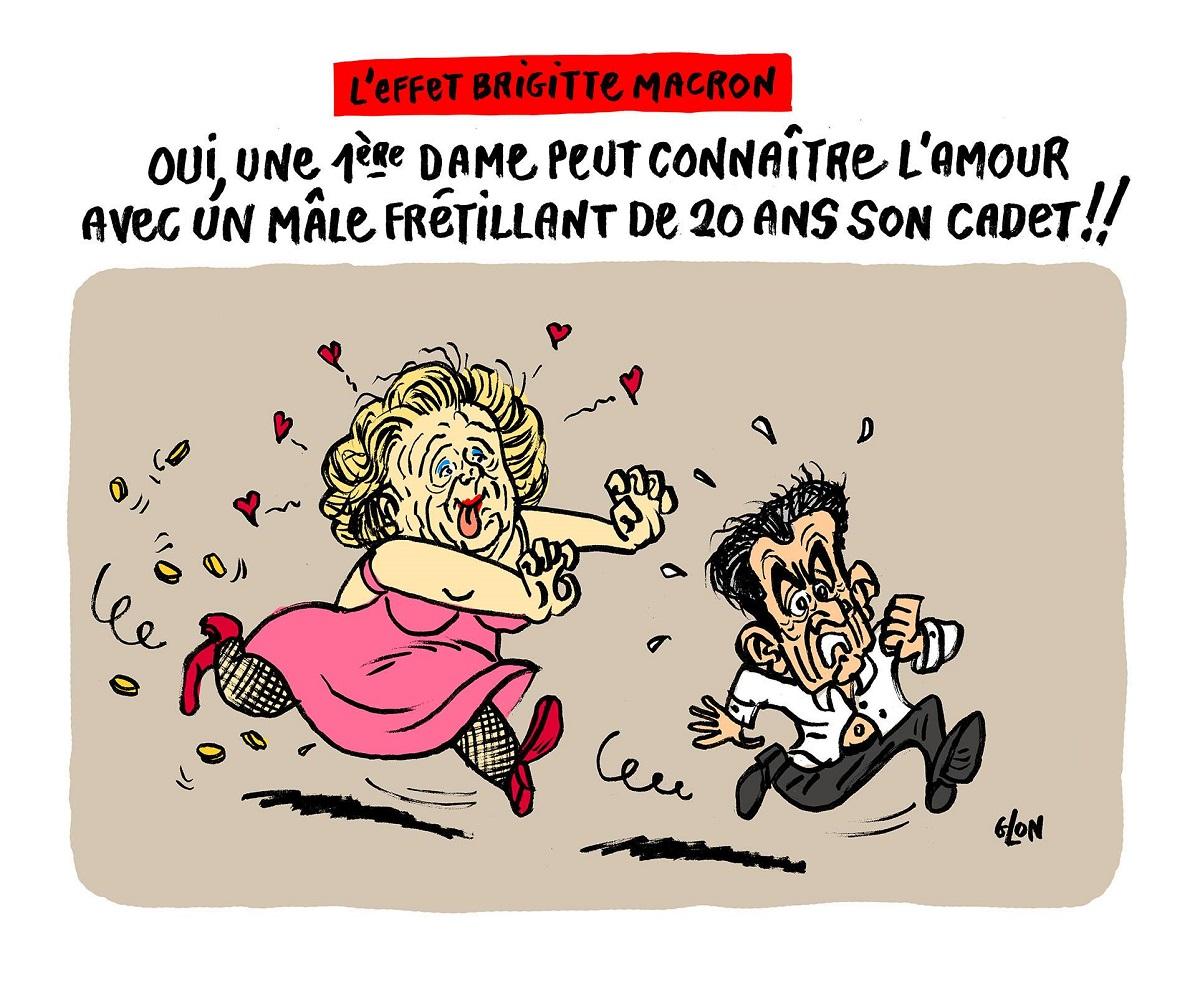 dessin humoristique de Bernadette Chirac poursuivant de ses assiduités Nicolas Sarkozy