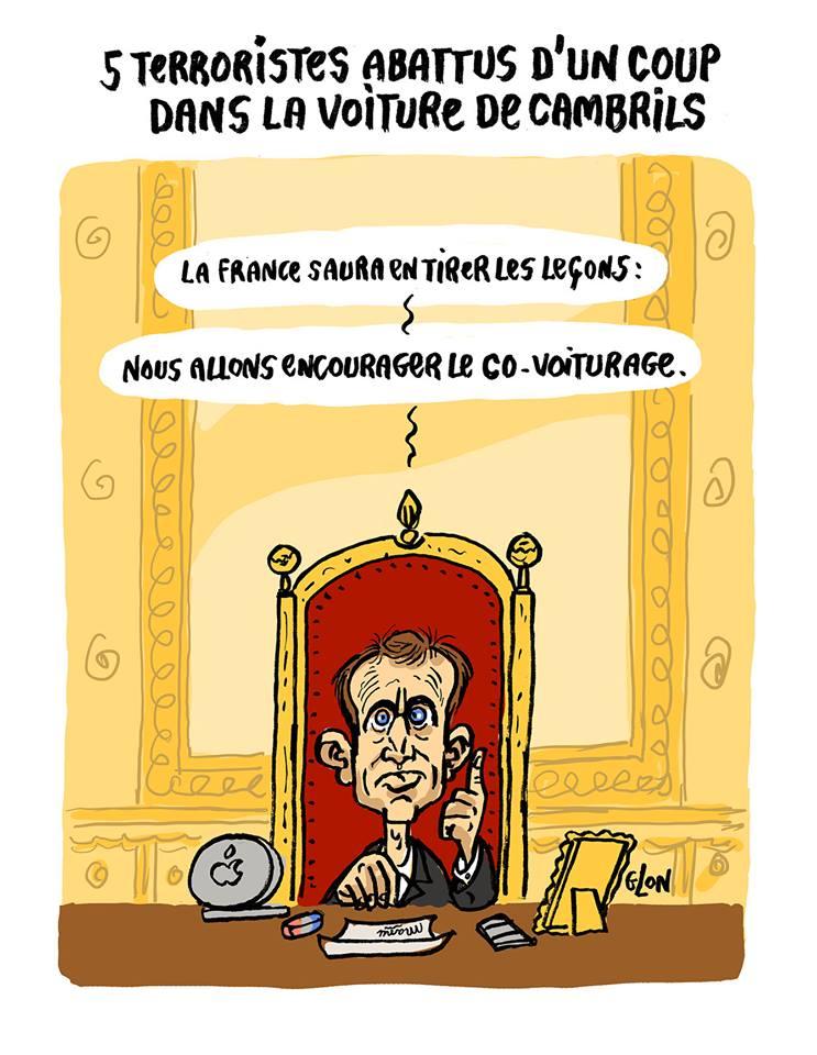 dessin humoristique d'Emmanuel Macron qui prend une mesure déterminante contre le terrorisme