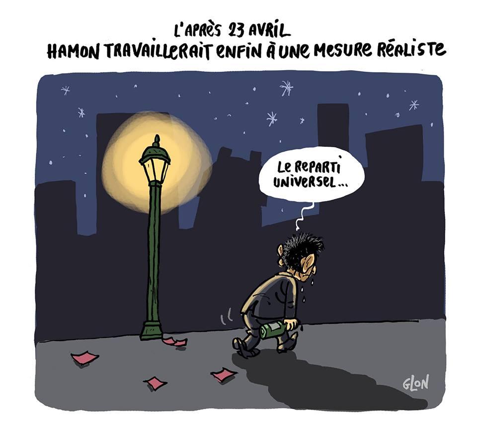 dessin humoristique de Benoît Hamon sur le départ après sa défaite