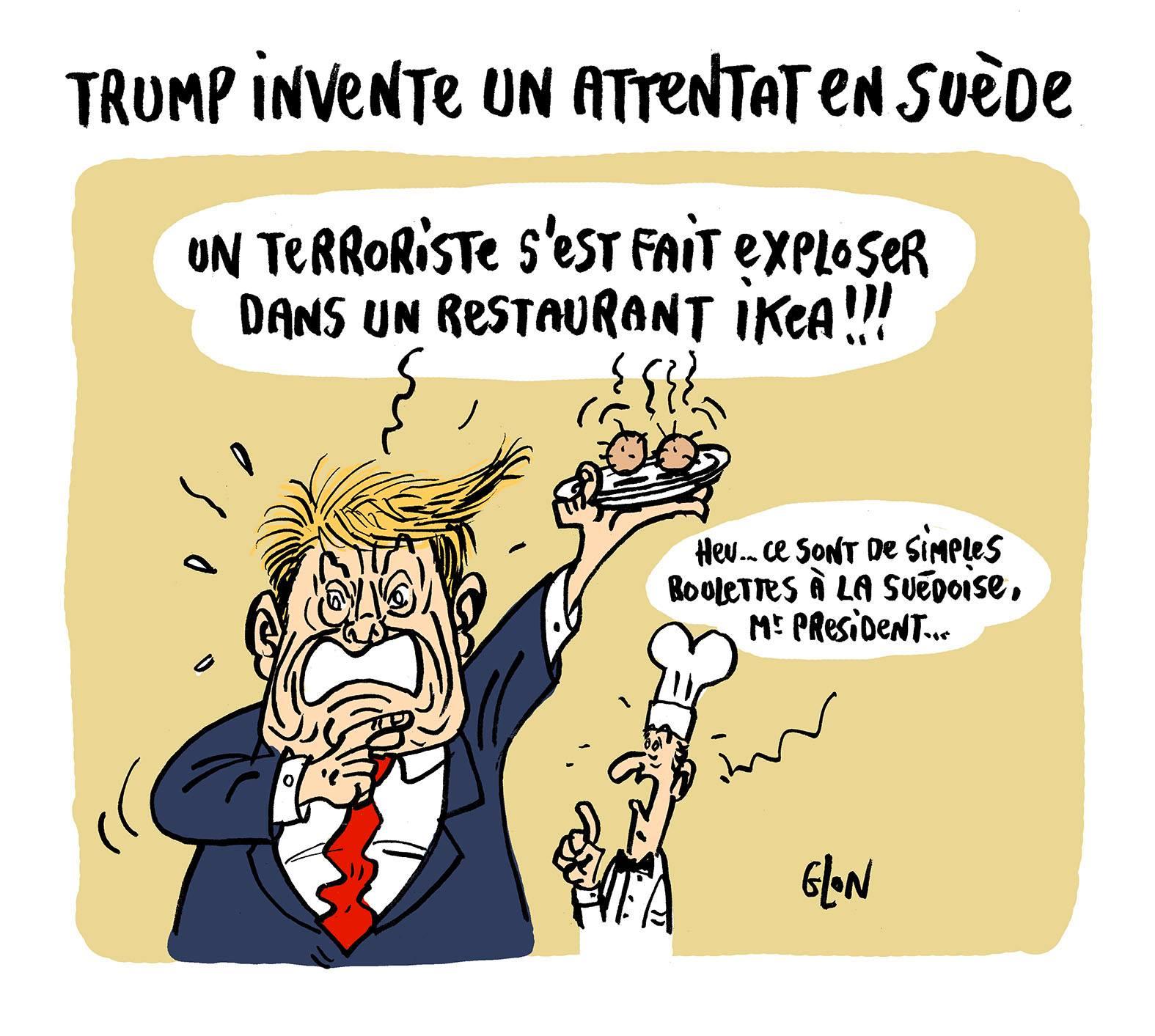 dessin humoristique de Donald Trump dans un restaurant Ikéa