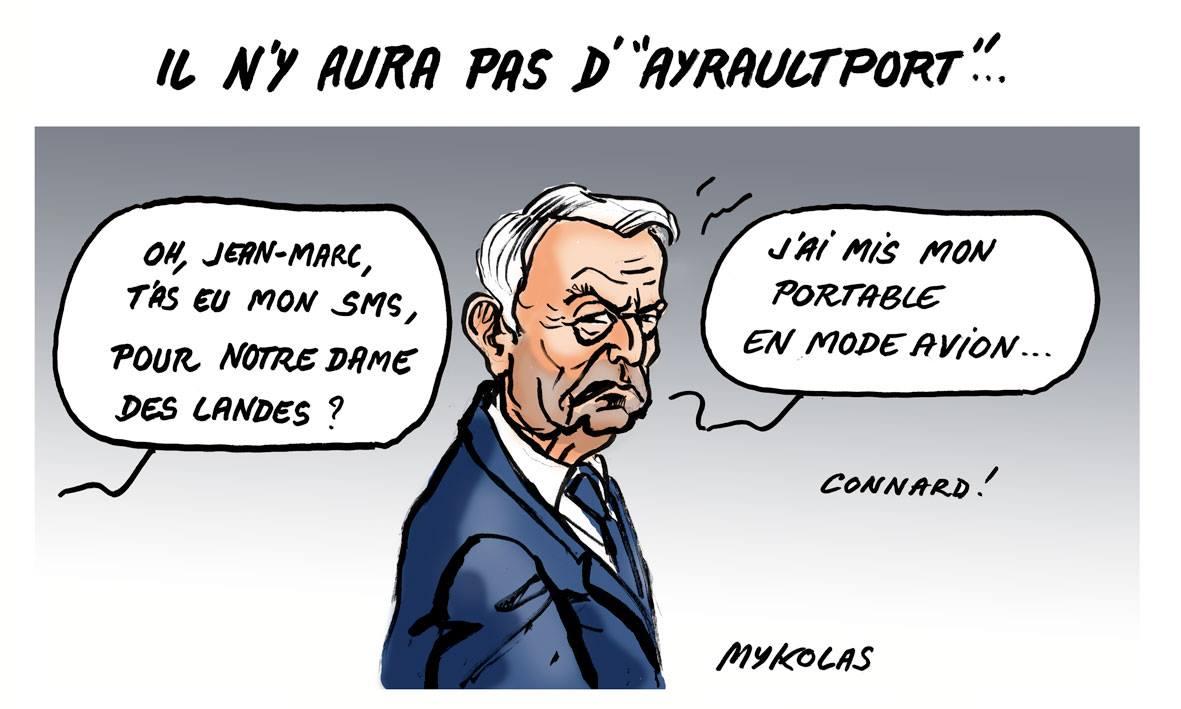 dessin humoristique de Jean-Marc Ayrault interrogé sur l'abandon du projet de Notre-Dame-Des-Landes